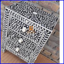 Handmade Bone Inlay Wooden Modern Floral Pattern Bedside Sidetable Nightstand with 3 Drawer Furniture