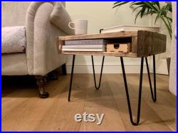 Handmade Rustic Bedside Table Nightstand End Table with storage made from Reclaimed Industrial Wood. Upcycled Pallet Furniture Range.
