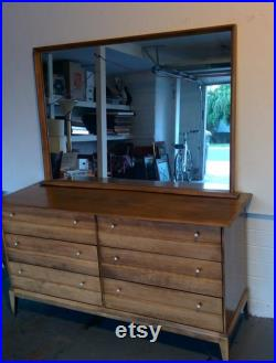 Haywood Wakefield mid century dresser and mirror Cadence collection