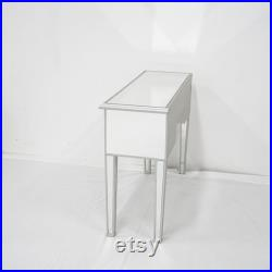 Hollywood Mirrored Vanity Table Silver Finish For Living Room, Accent, Bedroom Minimalist Hollywood Makeup Table Mirror Dressing Table