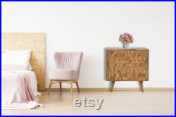 Honey Comb Carved Chest of Drawers, Sideboard, Dresser, Commode, Bedroom Drawers, Sideboard Cabinet, Wooden Chest, Handmade Solid Wood Chest