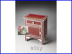 Horn and Bone Inlay Handmade Designer Red And Black Floral Pattern Bedside Nightstand With FREE Suri Round Box