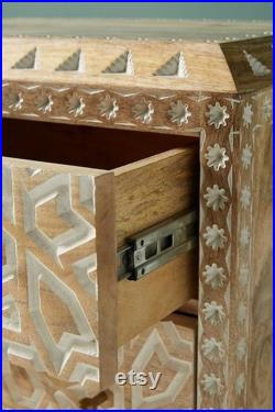 Indian Handcarved Nightstand Home Decor Bedside Table Chest Of Drawers