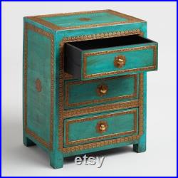 Indian Wooden Hand Carved Brass fitting Bedside Cabinet Nightstand Side table