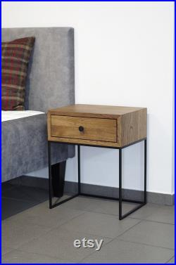 Industrial Bedside Table Mid Century Industrial Style Solid oak wood and black finish metal legs Nightstand end table NO-02-ES