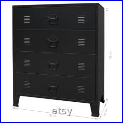Industrial Black Dresser, Metal Chest of Drawers Cabinet with 4 Large Drawers