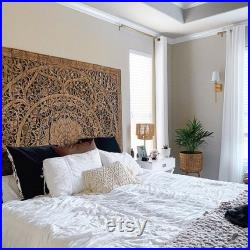 King Size Bed Headboard, Wall Mounted Carved Wood Panels, Handcrafted Mandala Wooden Sculpture, Rustic Brown Stain Wash Finishing 72 Inches