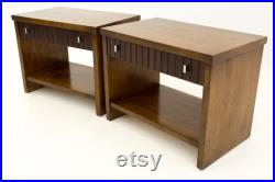 Lane Tower Suite Mid Century 1 Drawer Walnut and Rosewood Side End Tables Nightstands Matching Pair mcm