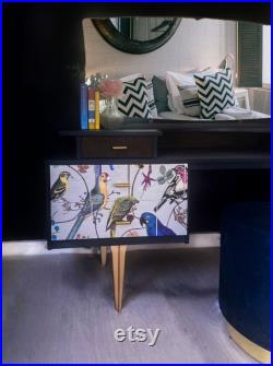 Luxury retro dressing table upcycled with designer wallpaper