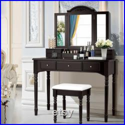 Makeup Station Vanity Set for Women Desk with Drawers Tri-Folding Mirror Dressing Table Bench Stool Chair Modern Victorian Vintage Dresser