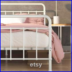 Metal Platform Bed Frame Mattress Foundation No Box Spring Needed Easy Assembly, White, Full