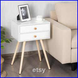 Mid Century Modern 2 Drawers Nightstand In White Sofa Side Table End Table white