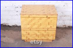 Mid-Century Modern Hollywood Regency Chinoiserie Bamboo Parquetry Nightstand