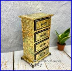 Mid modern chest of drawers, Small storage chest with 4 drawers, gold chest of drawers with painted walls mid century chest of drawers