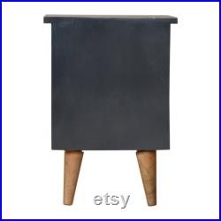Midnight Blue Hand-Painted Solid Wood 2 Drawer Bedside Table In Oak Finish