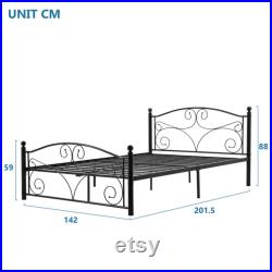 Modern Metal Bed Frame Solid with Headboard andFootboard for Adults Kids Teenagers