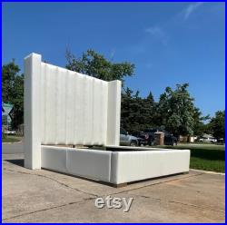 Modern Tall Headboard Adjustable Bed Frame Platform California King Queen Full Wingback Restoration Hardware Channel Tufting MADE TO ORDER