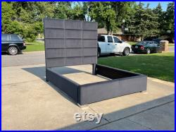 Modern Tall Headboard Bed Frame Channel Panel Tufted California King Queen Full Twin Upholstered Bed Frame Modern MADE To ORDER