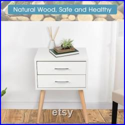 Modern White Bedside Table with 2 Drawers Nightstand Storage Modern Cabinet Bedroom living room beautiful Side Table Home Decor Furniture