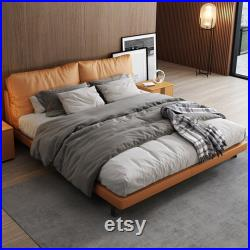 Modern simple leather bed light luxury master bedroom 1.8 meters double bed INS net red minimalist wind Nordic light luxury master bed