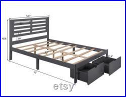 Modern wooden platform bed frame with storage drawers full twin bed with headboard