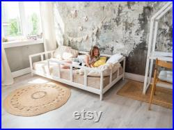 Montessori kids frame bed Home and Bedroom decor Furniture for toddlers Montessori Bed in playroom Toy for boy and girl