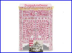 Mother Of Pearl Handmade Designer Pink Floral Pattern Bedside Table With FREE Suri Box