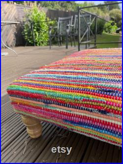 Multi Colour Rainbow Rag Rug Large Bench Footstool Made from Wood Cotton and Mixed Fabric
