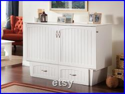 Nantucket Murphy Bed Chest with Charging Station and Mattress, Queen, White