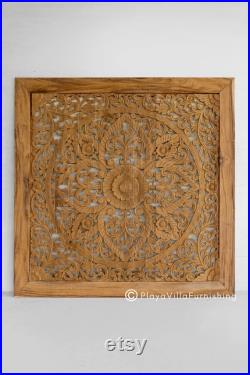Natural Teak Wood Headboard Queen Carving with Frame, Mounted Wall Art Panel Decoration, Wooden Bed Head Panel from Thailand 69 Inches