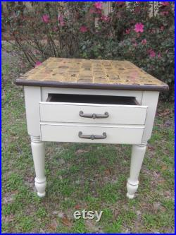 Night stand, accent table, vintage night stand, side table, decoupage table, Antique end table, French provincial distressed end table