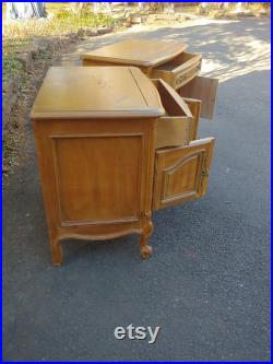 Nightstands PAIR Vintage French Country Bedside Cabinets Solid Wood Custom Paint to Order Poppy Cottage Painted Furniture