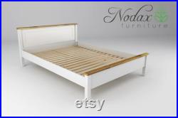Nodax Wooden Solid Pine Bed Frame Model F18 White and Oak