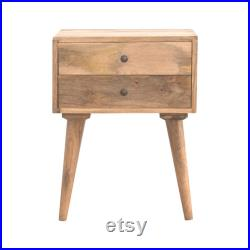 Nordic 2 Drawer Solid Wood Bedside Table in Oak Finish