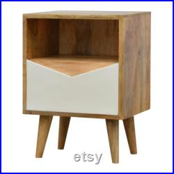 Nordic Envelope Front One Drawer Solid Wood Bedside Table Hand-Pained White In Oak Finish