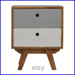 Nordic Style Bedside Table Solid Wood Hand-Pained White and Grey with Two Drawers
