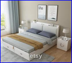 Nordic bed modern simple bed master bedroom furniture suit small family wedding bed high box storage double bed