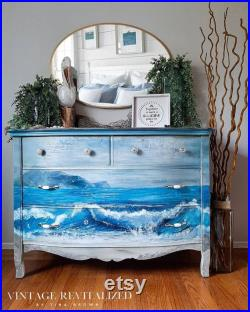 Ocean Dresser Blue Wave Antique Chest of Drawers Nursery Changing Table Bedroom Buffet Entry table Entryway TV Console Vintage