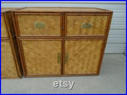 Pair Faux Bamboo Bachelor Chest drawers Nightstands Flat rattan 2 Hollywood Regency Palm Beach Cottage Coastal Tropical Cabinets Boho Two