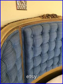 Pair of Antique French Country Provincial Style Blue Upholstered Twin Beds Tufted curved headboads