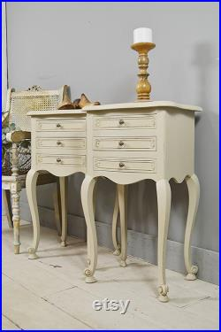 Pair of Beige Vintage French 3 Drawer Bedside Tables Free UK Delivery