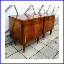 Pair of Mid Century Modern Nightstands Vintage Bedside Tables McM Bedside Cabinets Made in Yugoslavia