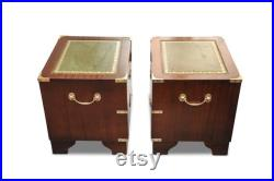 Pair of Military Campaign Chests of Mahogany and With Leather Tops Brass Corners and Flush Handles Circa 1950's Read Shipping Information