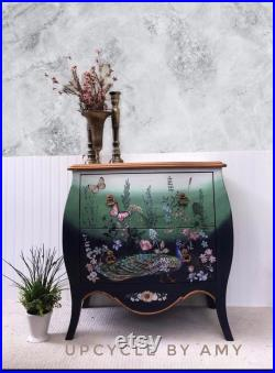 Peacock Garden Theme Bombay Chest, boho accent table, whimsical sideboard, ombré