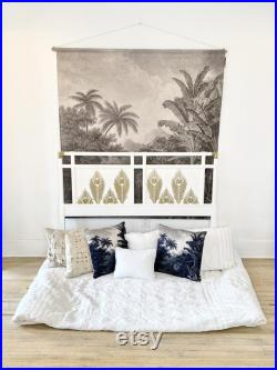 Peacock Gold and White Queen Headboard
