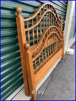 Queen or Full Size Oak Spindle Arched Bed Frame Farmhouse Log Cabin Rustic French Country