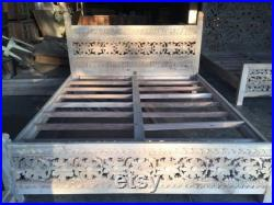 Rabakind Indian Style Solid Wooden Flower Design Bed Indian Bed.