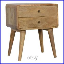 Retro Scandinavian Small Chest Of Bedside Drawers Curved Oak-ish Bedside Table With 2 Drawers Mid century Scandi Hand Made Bedroom Bedside