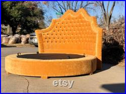 Round Bed Platform Frame Tufted Upholstered Bed Curvy French Provincial Round Bed Frame Pick Your Fabric Any Shape MADE TO ORDER