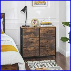 Rustic Drawer Dresser, Wide Storage Dresser with 6 Fabric Drawers, Industrial Closet Storage Drawers with Metal Frame, Wooden Top